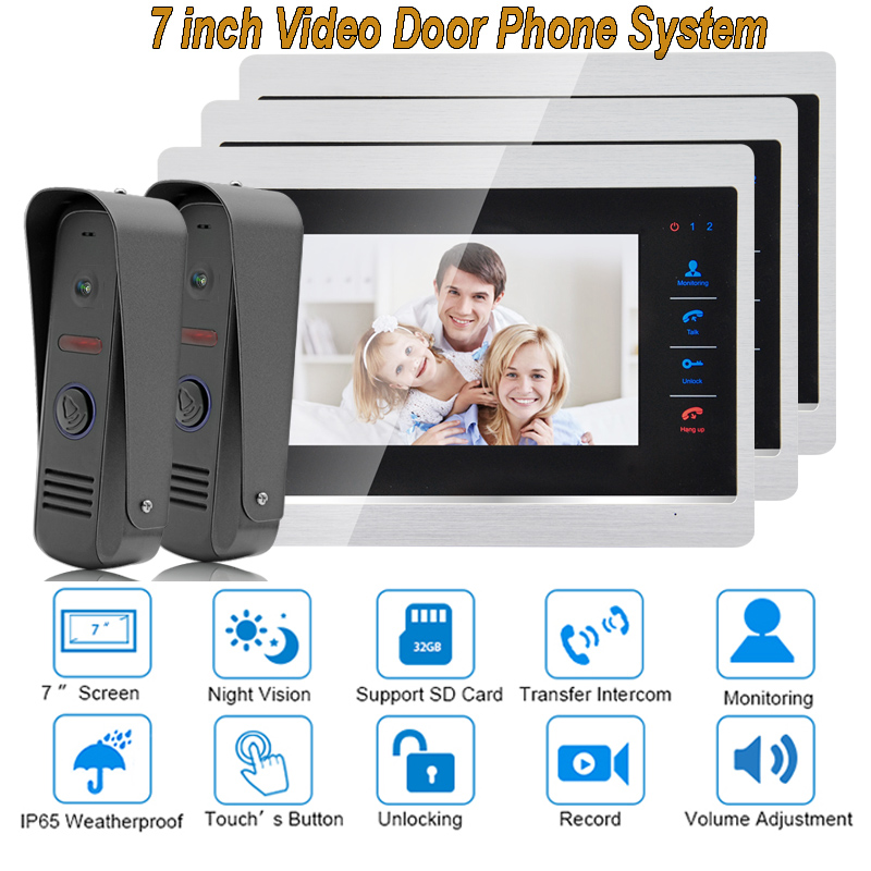 7 Inch Video Door Phone Monitor Intercom System Kit Night Vision 1200 TVL Doorbell Camera Recording SD Card Support 2V3 7 inch color tft video door phone doorbell intercom kit 2 camera 1 monitor night vision electric lock control mfbs