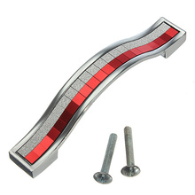 Modern Solid Zinc alloy cupboard Knob Fashion Furniture handle drawer closet pull Handle red and silver crystal knobs 96mm