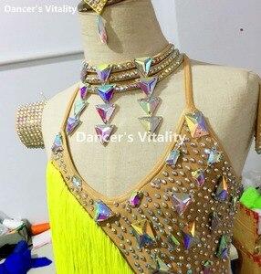 Image 3 - New Children Latin Tassel Dancing Skirt Childs Rumba Samba ChaCha Latin Competition Dance Dresses Latin Costumes For Girls