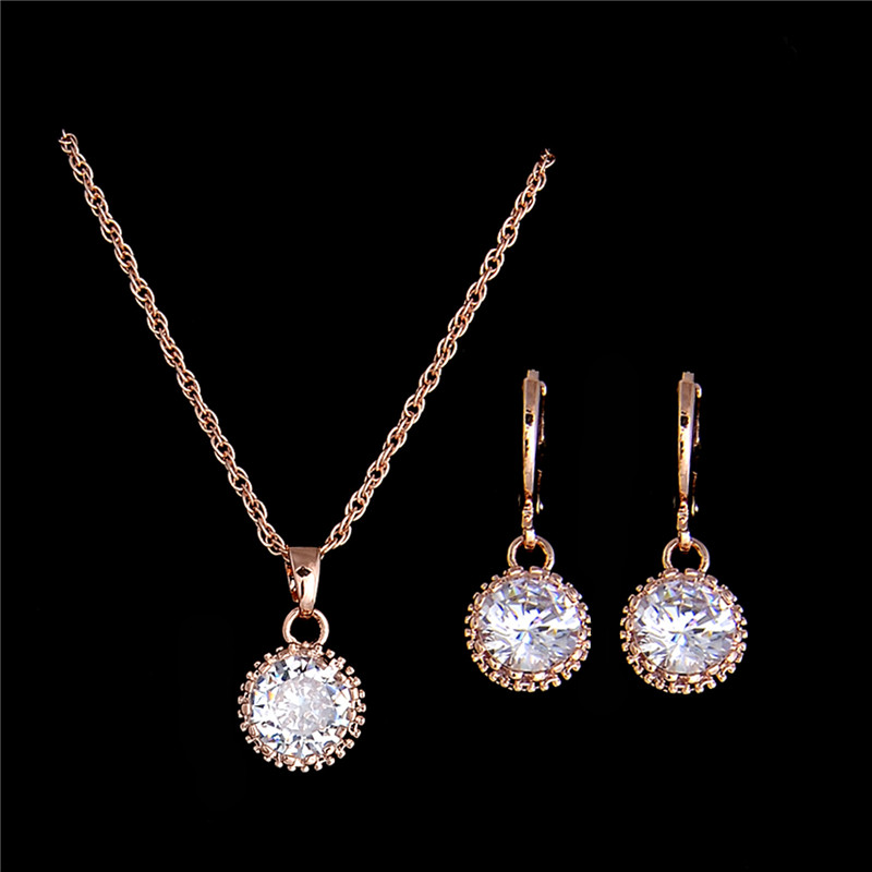 H:HYDE New Gold Color Round Cubic Zirconia Stylish Necklace s