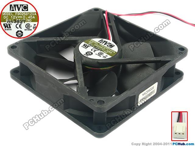 AVC F9025B12UA DC 12V 0.45A   100mm 92x92x25mm  Server Square  Fan avc db12038b12h p012 dc 12v 4 5a 120x120x38mm server square fan