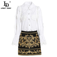 LD Linda della Мода Взлетно посадочной полосы Короткая юбка комплект из двух предметов для женщин Элегантный Белые блузы + цветок вышитые мини ЮБК
