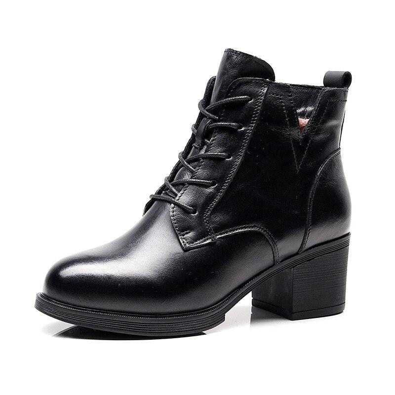 Martin Hiver Mode Cuir Antidérapantes Noir marron Dentelle Vache Chaussures Nouveaux Bottes Chaud Confort Occasionnels En Peau 2018 Femmes De tdCxQrsh