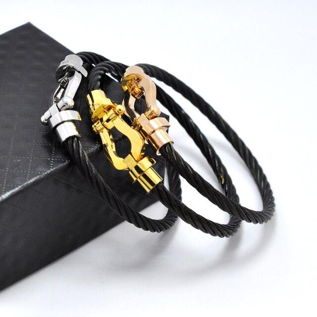 J. appendere ke designer di gioielli in acciaio inox di marca Bracciali braccialetti Magnete Fibbia Cavo di Filo Delle Donne Degli Uomini di U Del Braccialetto bijoux homme