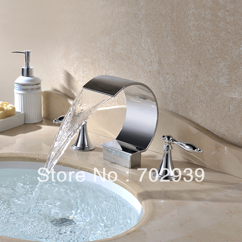 Free shipping 3 PIECE BATHROOM MIXER FAUCET Waterfall ...