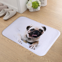 FOKUSENT Doormat Indoor Print Cute Pug Dog Door Mat Flannel Floor Mat Rugs Tapis for Bedroom Living Room 40*60cm