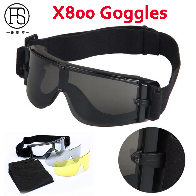 X800 Goggles 3 Lenses USMC Tactical Army Sunglasses Paintball Airsoft Hunting Combat Military Tactical Goggles