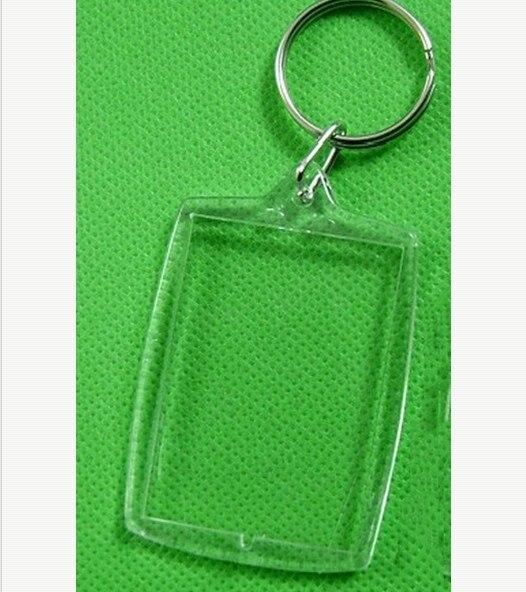 5pcs/Lot Rectangle Transparent Blank Acrylic Insert Photo Picture Frame Keyring Keychain DIY Split Ring Key Chain Gift Hot Sale