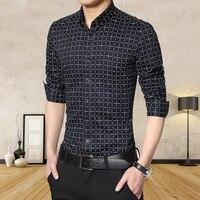 Agradável Primavera Outono Agradável Para Os Homens Camisas de Impressão Moda turn-down Collar Camisas de Vestido Plaod Camisa Não-ferro Camisas de algodão Fino