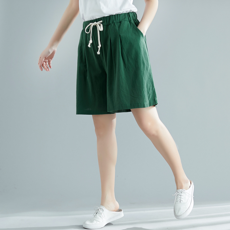 100 Linen Short Pants Female Summer Shorts New Quality Soft Wide Leg Trousers Women Casual Plus Size Loose Elastic Waist Shorts in Shorts from Women 39 s Clothing