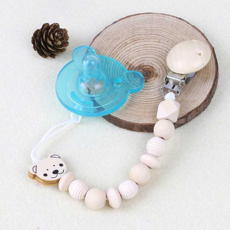 Cadena de chupete de madera para bebé, Clip de cabeza de oso, Clip de chupete para bebé, juguete para mordedor