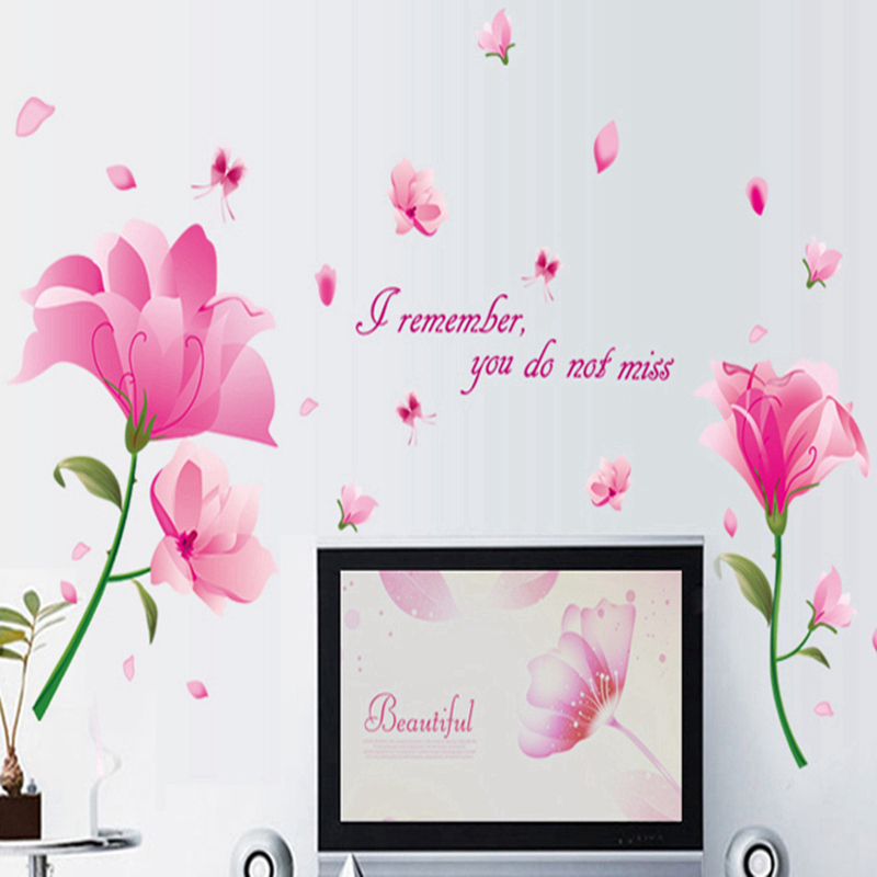 Pink Flower Stickers Wall Sticker Wall Art Home Decoration Accessories Bedroom Decor Wall Stickers Home Decor