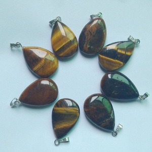 Image 1 - 2018 fashion natural tiger eye stone water drop charms pendants fit Necklaces making 50pcs/lot wholesale Free shipping