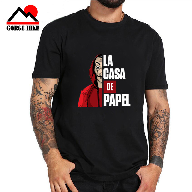 Famosa Casa De Papel dinero Heist La Casa De Papel Camiseta De manga corta talla grande para hombres De algodón camiseta de equipo Camiseta