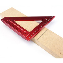 Aluminum Alloy Red Woodworking Ruler Angle Protractor Gauge 5.9Inch/Metric