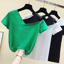 Gkfnmt белая футболка с коротким рукавом на одно плечо, женский топ из хлопка, сексуальная клубная Летняя женская зеленая футболка, женская футболка