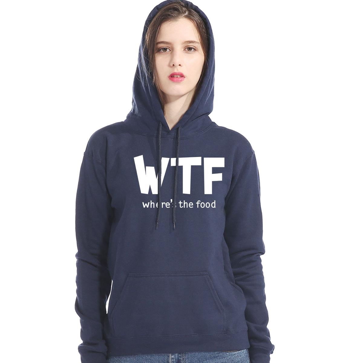 WTF WHERE'S THE FOOD Letter Print Women's Hoodies 2019 Autumn Long Sleeve Pullover Hoody Harajuku Female Sportwear Sweatshirts