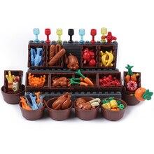 Cidade blocos de construção peças pão frutas peixe caixa comida brinquedos para legoe cidade amigos blocos acessórios peças blocos de construção brinquedos