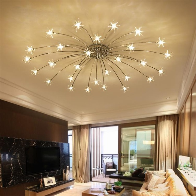 Light Filled Contemporary Living Rooms: Creative Chandelier Ceiling Bedroom Living Room Modern