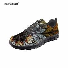 INSTANTARTS estilo Casual de las mujeres de encaje zapatos planos 3D hojas patrón Vintage de malla zapatillas de deporte para mujer jovencita confort zapatillas de deporte