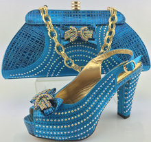 Italian Shoes And Bag To Matching Set For Party African Women Shoes And Bag Set With Rhinestones Woman Pumps Shoes ME3322