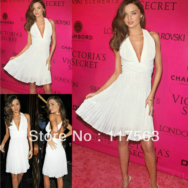 Miranda Kerr Sexy White Deep V Neck Open Back Pleats Knee Length Celebrity Gown Evening Dress CD042