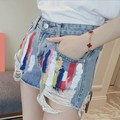 Korean Fashion Women High Waisted Denim Shorts Female Graffiti Harem Ripped Jeans Shorts