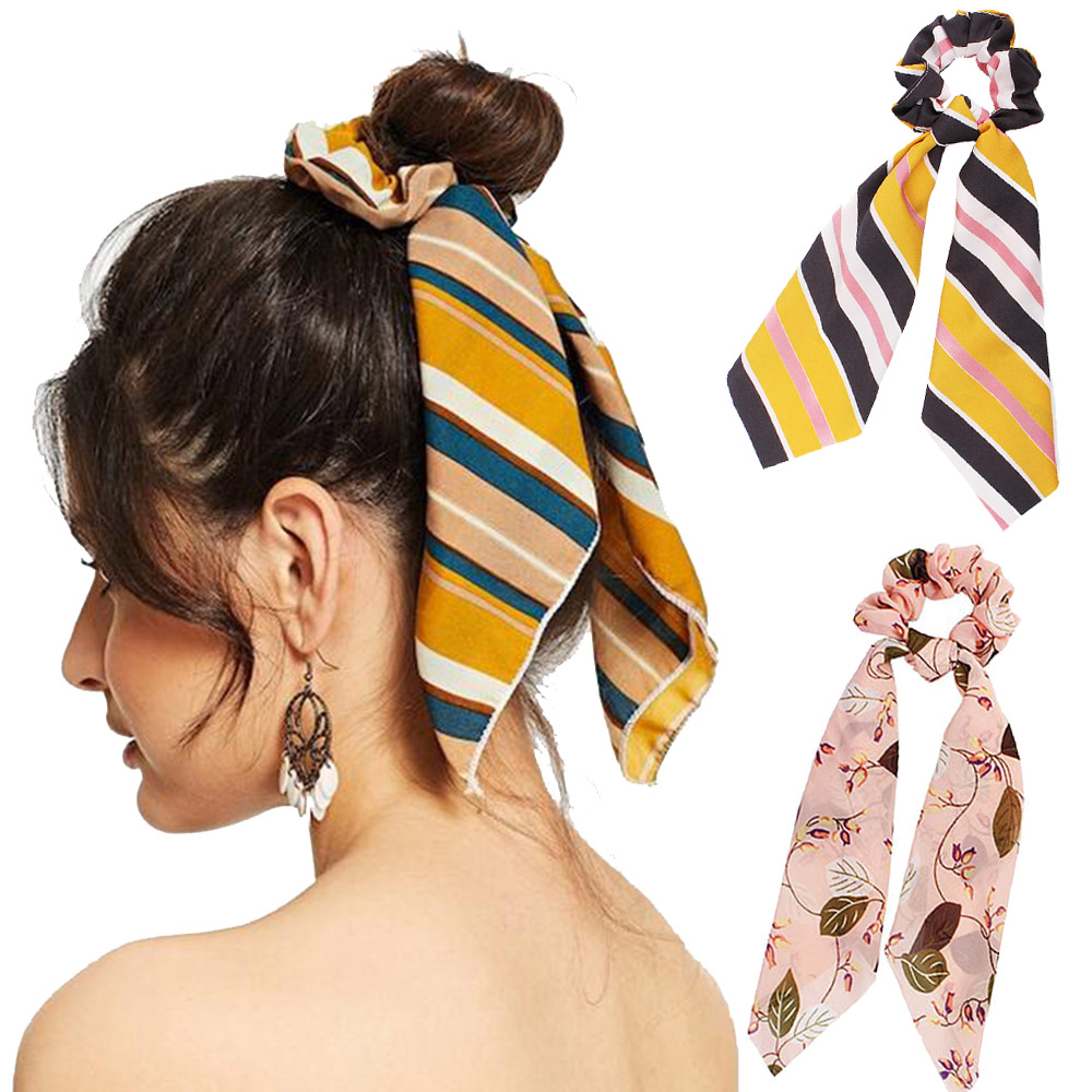 Women Summer Hair Scarf 2020 Hair Bow Ponytail Holder Scrunchies Flower Headbands Girls Elastic Hairband Ribbon Hair Accessories
