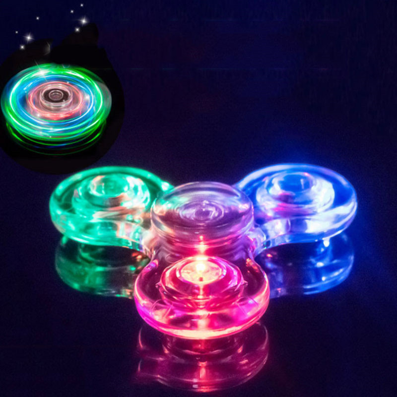 Creative Luminous LED Light Fidget Spinner Transparent Colorful Stress Relief Hand Spinner Glow In The Dark Anti-stress Toy Gift
