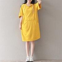 Casual Vintage Yellow Large Pockets Short Sleeve Knee Length Hoodie Summer Dress Sun Dresses Fashion Loose