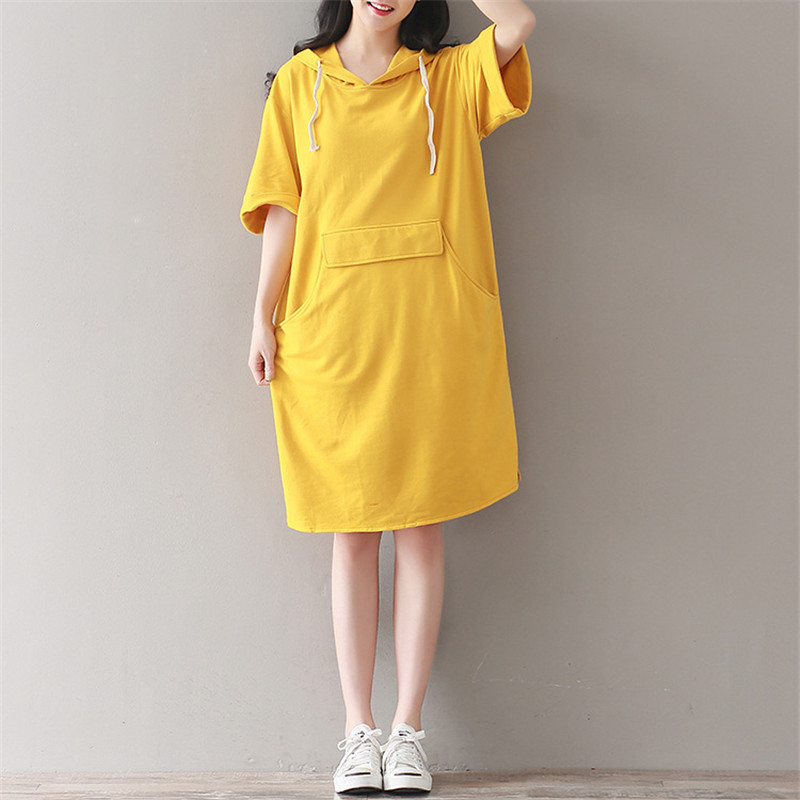 Casual Vintage Yellow Large Pockets Short Sleeve Knee Length Hoodie Summer Dress Sun Dresses Fashion Loose Women Robe TT2768