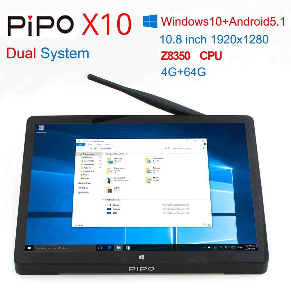 [Discount] 10.8 Inch 1920*1280 PIPO X10 TV BOX Windows 10+Android 5.1 TV Box Z8350 Quad Core 4G+64G HDMI 10000mAh Battery new 10 8 inch 1920 1280 pipo x10 mini pc windows 10 tv box z8300 quad core 4g ram 64g rom hdmi media box bluetooth win10