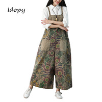Idopy Fashion Women`s Floral Jumpsuit Female Loose Fit Baggy Urban Style Flower Printed Bib Overalls For Girls