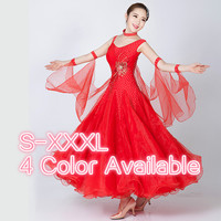 Modern dance ballroom dance dress pendant cuff standard competition costumes one piece dress Waltz Tango