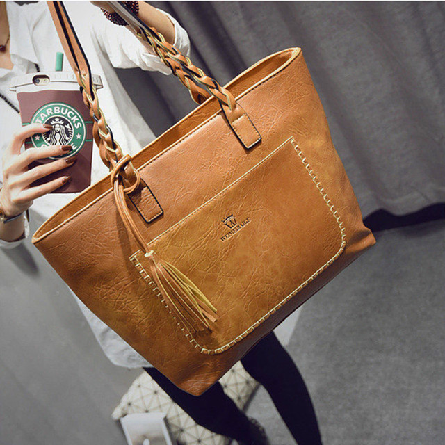 XLY&R Famous Brand Leather Handbag Bolsas Mujer Large Vintage Tassel Shoulder Bags Women Shopping Tote Purse sac a main 1