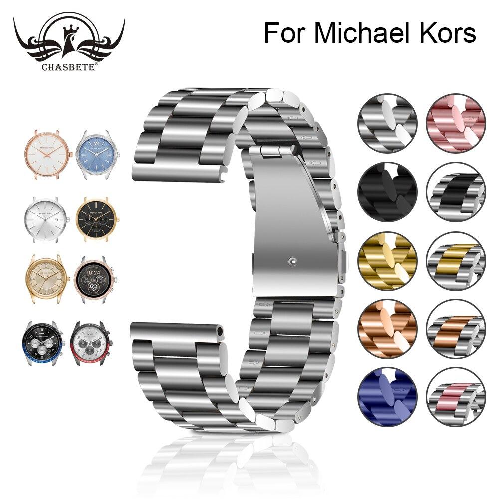 Stainless Steel Watchband For Michael Kors 18mm 20mm 22mm Men Women Quick Release Watch Band Metal Strap Wrist Bracelet Silver
