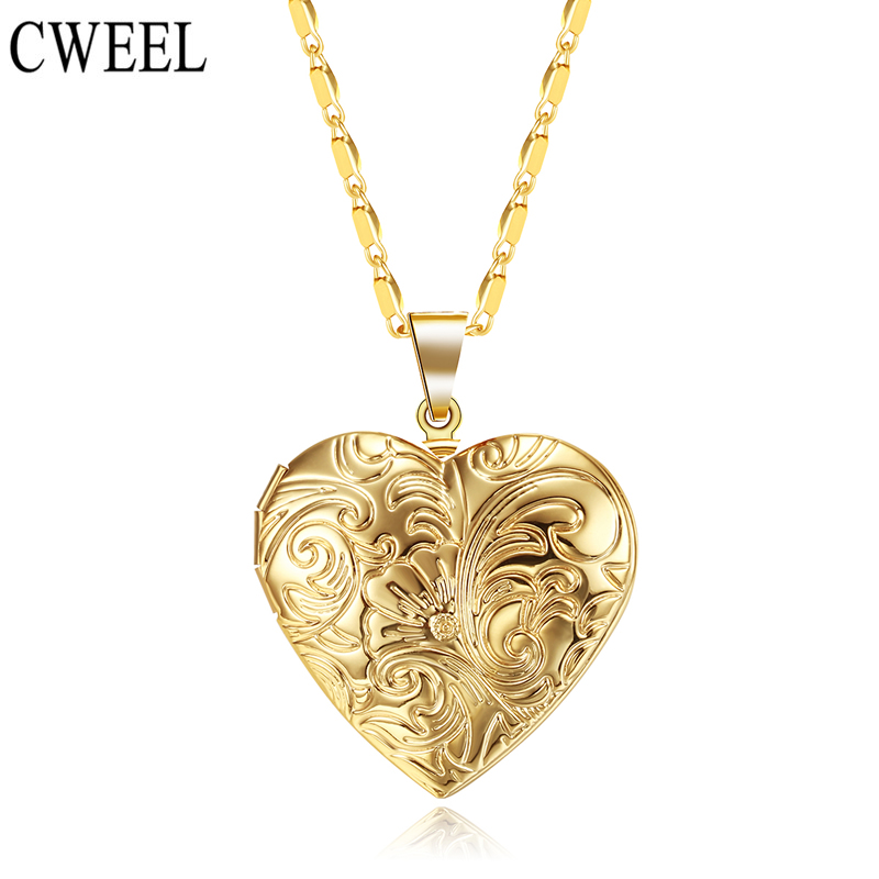 CWEEL Vintage Memory Locket Photo Frame Charms Gold/Silver Color Heart Necklace For Women Pendant Collier Femme Printing Holiday