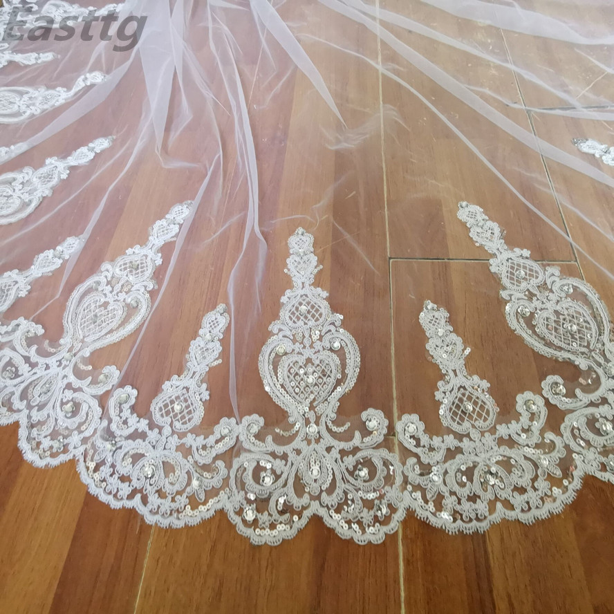 Real picture White Ivory 3.5m cathedral Long Wedding Veil Sparkling Crystal Bridal Veil Lace Wedding Accessories Metal Comb