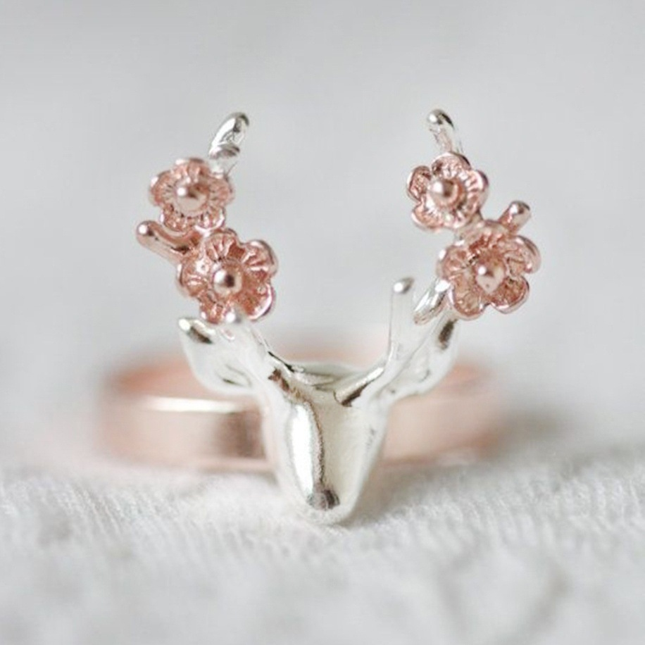 Octbyna New Fashion Classic Romantic Sika Deer Rings For Women Rose Gold Fine Rings Jewelry Party&Engagement Gift Wholesale