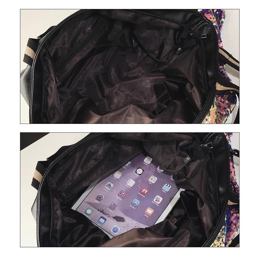 Image 5 - Herlad Fashion Large Womens Handbag Quality Leather Shiny Sequined Female Shoulder Bag Casual Letter Print Ladies Tote Bag SacShoulder Bags   -