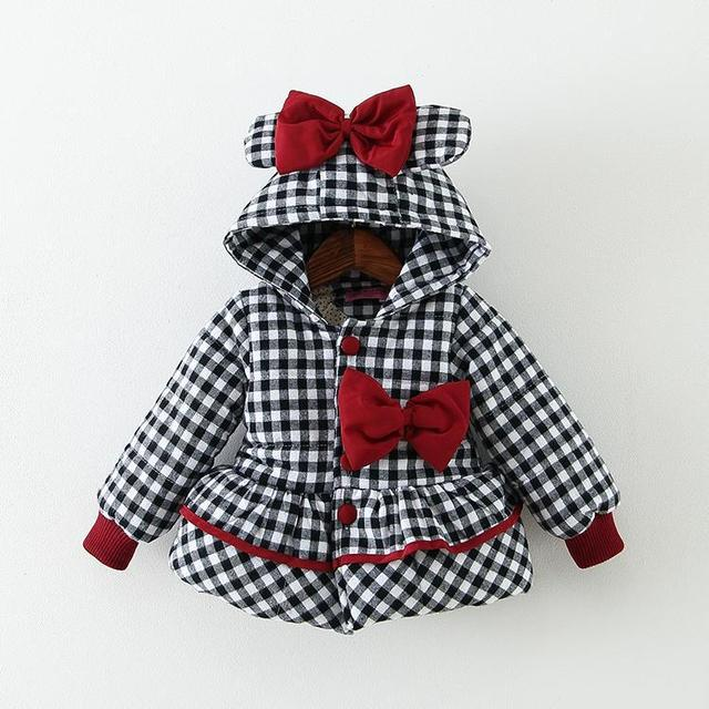 Baby girl lovely comfortable cotton-padded jacket Plaid bow
