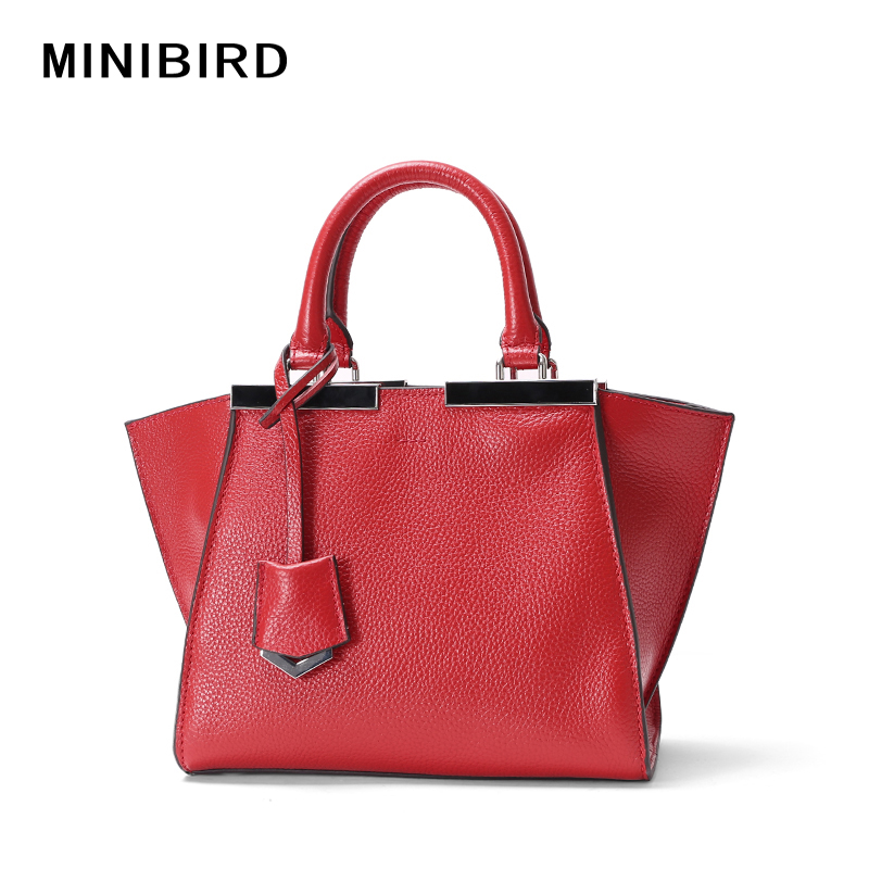 2017 New Girls Simple Fashion Wing Bag Lady Genuine Leather Totes Handbag Women Messenger Crossbody Shoulder Bag Trapeze Bag