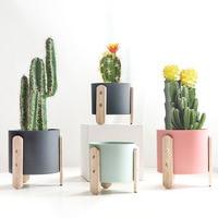 1pc マカロンカラー植木鉢鉄プランターポット木製スタンドホームデコレーションクラフト緑色植物と穴 -