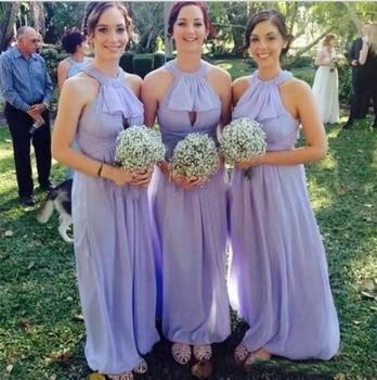 Cheap Elegant Purple Bridesmaid Dresses Halter Sleeveless Ruffle Chiffon Maid Of Honor Gowns Long Formal Party Dresses