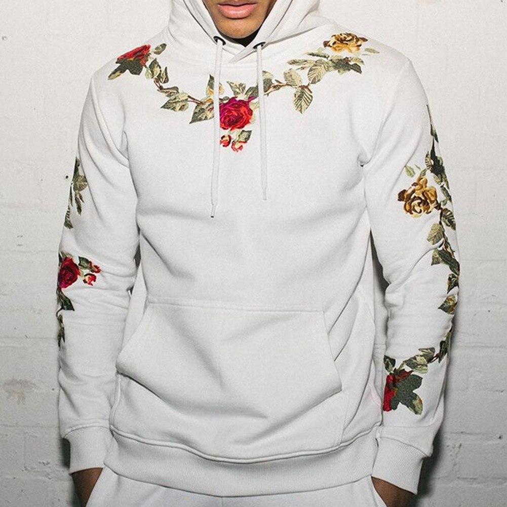 Pulls à capuche pour hommes imprimé Rose mode 2018 nouveau automne Floral sweats à capuche chauds Slim Fit sweat à capuche Outwear taille Plus Hoodies hauts