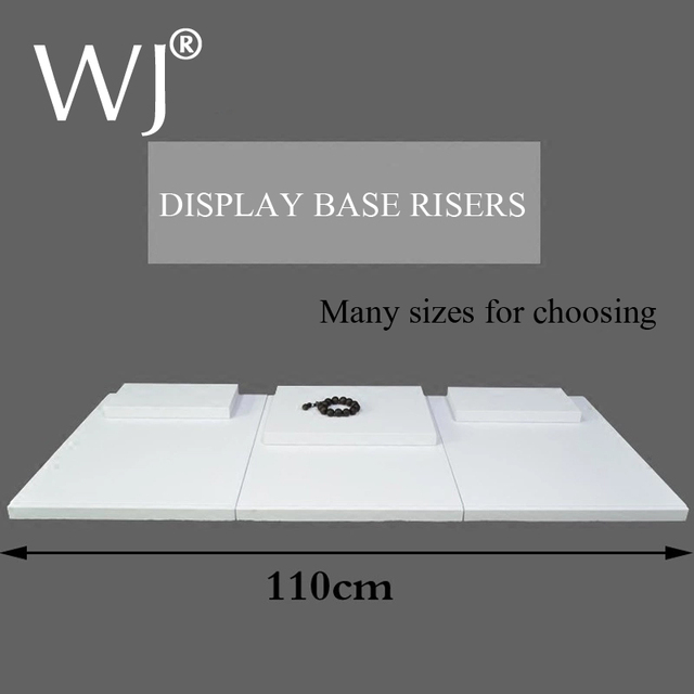 Flat Base Set Modern White Display Risers For Jeewlry Showcase Counter Top Presentation