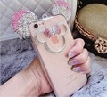 For apple iphone 5 5s se 6 6s 7 plus Cute 3D Minnie Mickey Mouse ear Bling rhinestone Diamond clear phone case cover