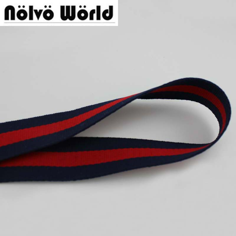32MM 1.5 inch Wide 1.5mm Thick Navy Blue Red color twill pattern nylon ribbon tape bag s ...