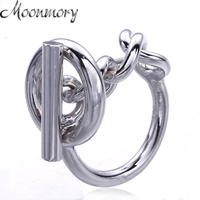 Moonmory Pure 925 Sterling Silver Wedding Thread Lock Ring With Chain For Women High Quality Silver