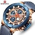 Часы мужские  модные спортивные часы NAVIFORCE  топ класса люкс  кожаные водонепроницаемые кварцевые наручные часы с секундомером  датой  мужски...